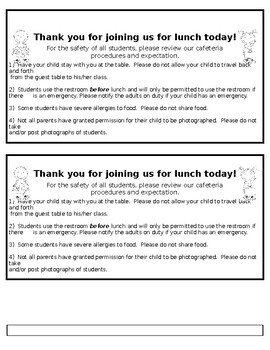 Editable Lunch Note for Parents & Visitors