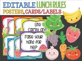 Editable Lunchtime Cafeteria Rules Signs Posters Labels: Cute Veg and Fruit