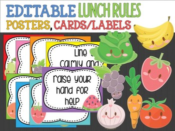 editable lunchtime cafeteria rules signs posters labels cute veg