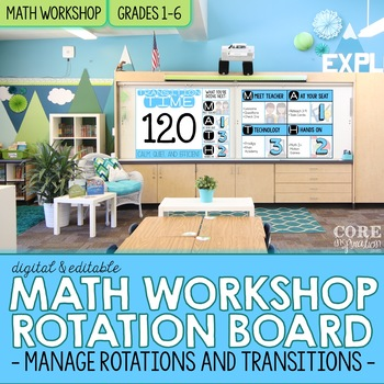 Editable Math Workshop Digital Rotation Board