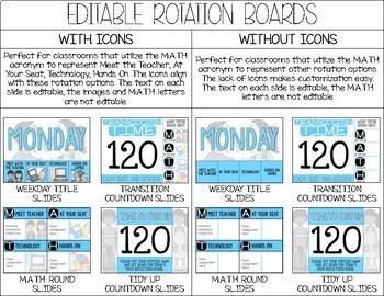 Editable Math Workshop Digital Rotation Board for Transition Management