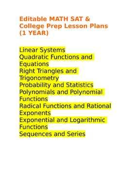 Editable MATH SAT & College Prep Lesson Plans (1 YEAR)