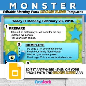 editable monster google slides templates by flapjack educational