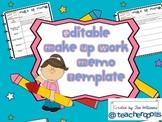 Editable Make Up Work Memo