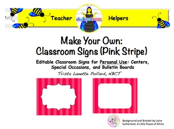 Editable Classroom & Computer Signs (Pink Stripe)