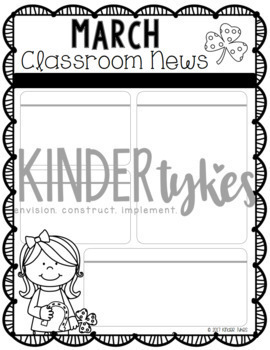 Editable March Classroom Newsletter