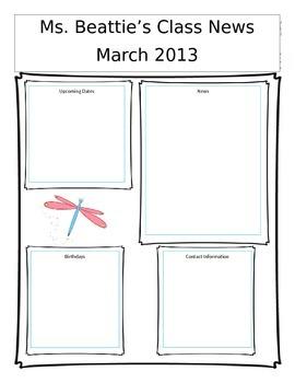 Editable March Newsletter