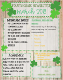 Editable March Newsletter Shamrocks