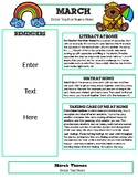 March Newsletter Template with Home Connections for Preschool