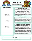 Editable March Newsletter Template for Preschool