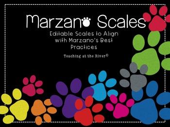 Editable Marzano Scale Template- Paw Theme/Dog theme