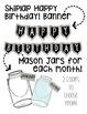Editable Mason Jar & Fireflies Birthday Display w Banner! Shiplap Shabby Chic