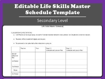 Editable Master Schedule Template For Secondary Life Skills Tpt