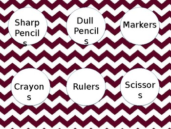 Editable Materials Labels -Maroon
