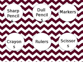 Editable Materials Labels -Maroon