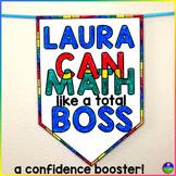 "Editable ""Math Boss"" Pennant to boost math confidence"