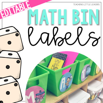Editable Math Center Bin Labels