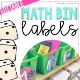 Editable Math Center Bin Labels