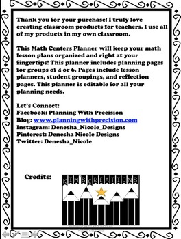 Editable Math Centers Planner