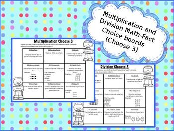 Editable Math Choice Board Multiplication Division - Homework