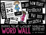 Editable Math Clue Word Wall