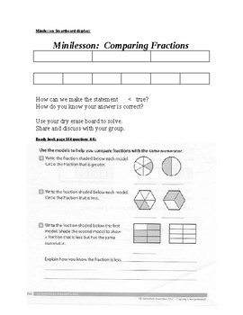 Editable Math Formal Lesson:  Comparing Fractions