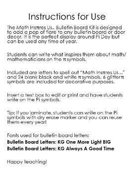 Editable Math Inspires Us.. Bulletin Board Kit