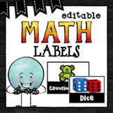 Editable Math Labels | Math Bin Labels | Black and White