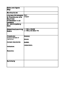 Editable Math Lesson Plan Template