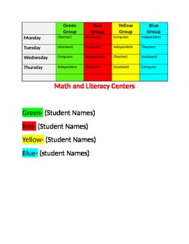 Editable Math/ Literacy Center Chart (Framework for organizing centers)
