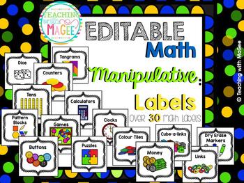 Editable Math Manipulative Labels