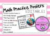 Editable Math Practice Posters with Bitmoji