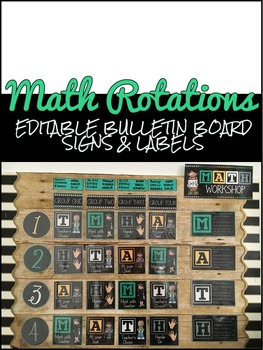 Editable Math Rotations Signs and Labels (Made to Fit Target Adhesive Pouches)