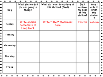 Editable Math Stations and Student Goal Setting