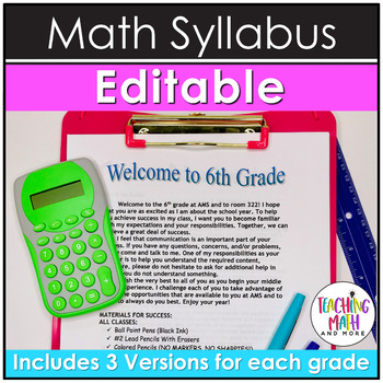 Editable Middle School Math Syllabus: Guidelines for Success