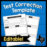 Editable Math Test Corrections Template - Exam Correction Form
