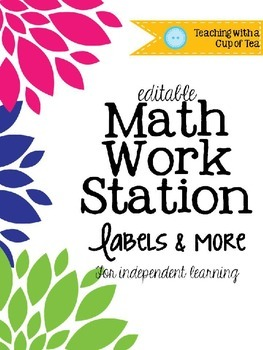 {Editable} Math Work Station Labels & More