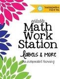 {Editable} Math Work Station Labels & More