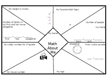 Editable Math about Me * Great for Parent Display