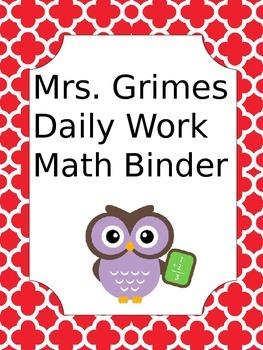 Editable Math binder cover