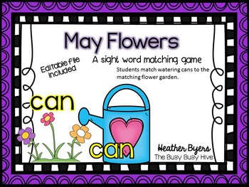 Editable May Flowers- Sight Word game