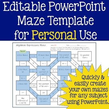 Editable Maze Template for Personal Use - Any Subject Area!
