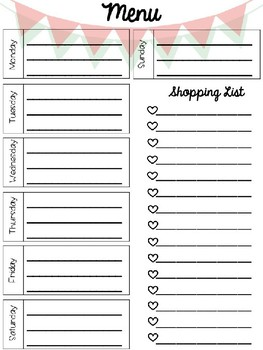 Editable Meal Planning Templates