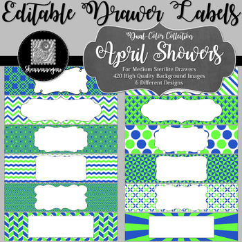 Editable Sterilite Drawer Labels - Dual-Color: April Showers