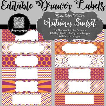 Editable Medium Sterilite Drawer Labels - Autumn Sunset