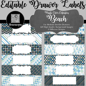 Editable Medium Sterilite Drawer Labels - Beach | Editable PowerPoint