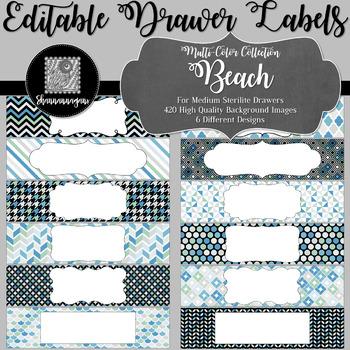 Editable Sterilite Drawer Labels - Multi-Color: Beach