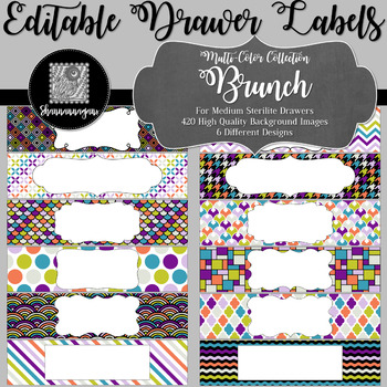 Editable Medium Sterilite Drawer Labels - Brunch