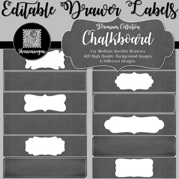 Editable Sterilite Drawer Labels - Chalkboard