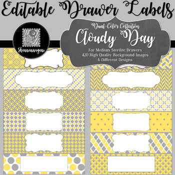 Editable Medium Sterilite Drawer Labels - Cloudy Day